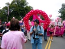 Big Code Pink balloon peace sign.