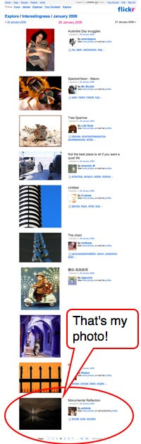 Screenshot of my photo on Flickr's interestingness page.