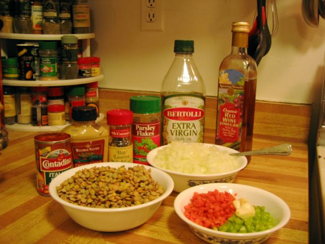 Ingredients for lentil soup, just before they all go into the pot.