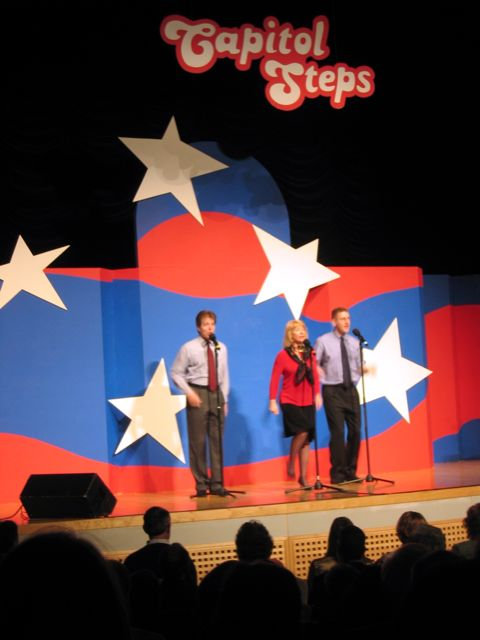 Members of the Capitol Steps performing last week at the Reagan Center.