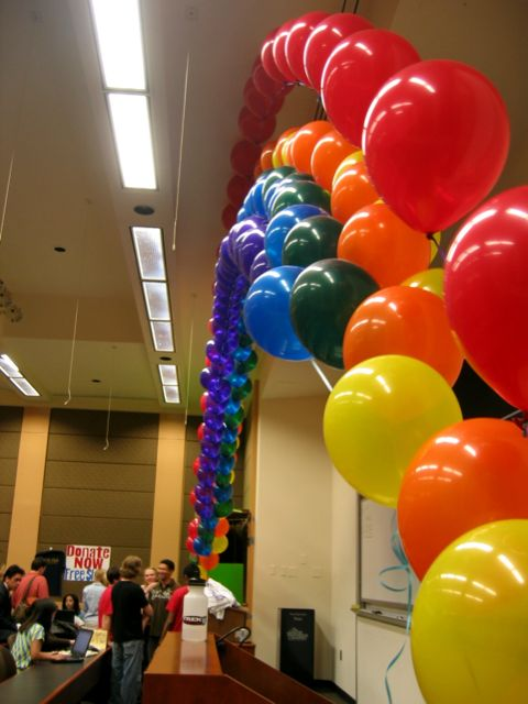This beautiful ballon rainbow framed the GW EJF Auction last night.