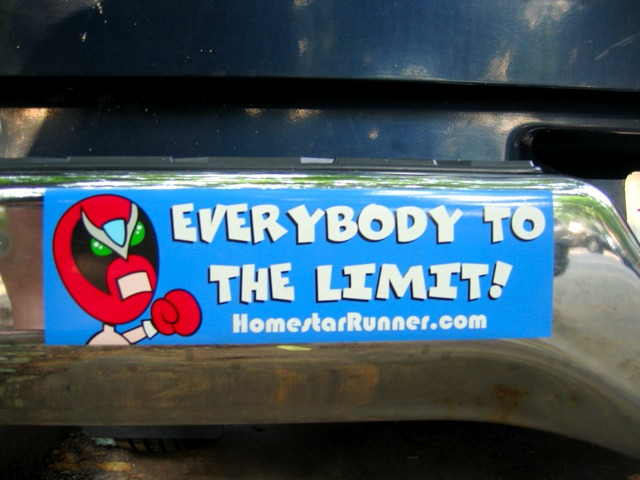 One of my favorite neighborhood bumper stickers.