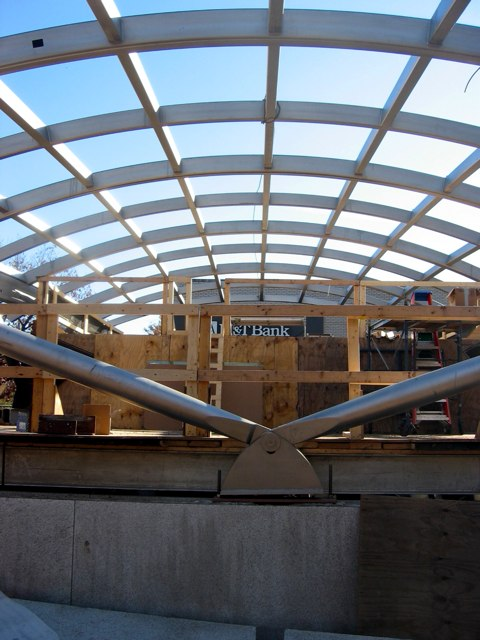 The escalator canopy under construction at the Woodley Park metro stop.