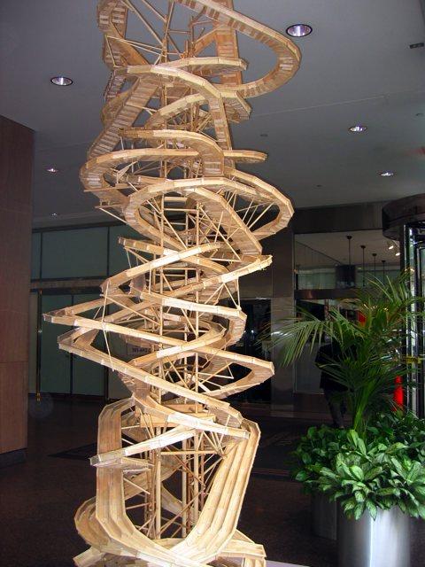 A large popsicle-stick sculpture.