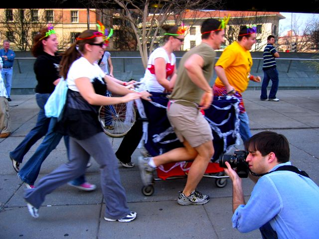 A crazy cart team heads off to the first stop.