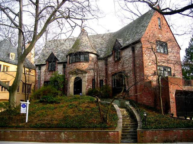 A big house for sale in the Kalorama neighborhood of DC.