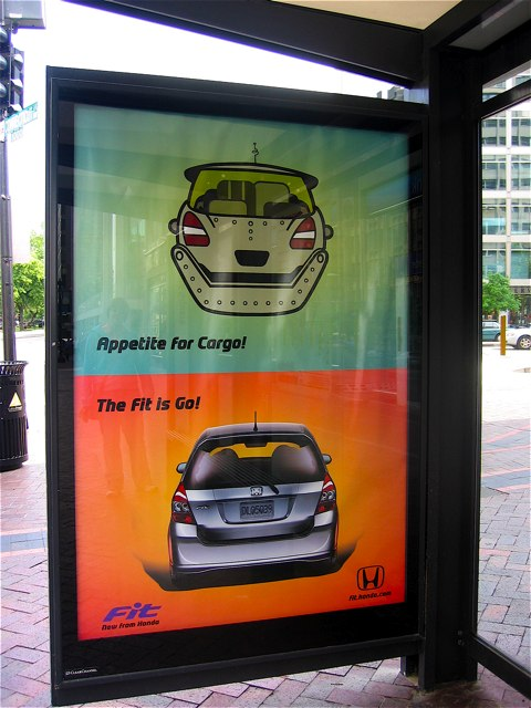 A bus stop ad for L.'s new favorite car.