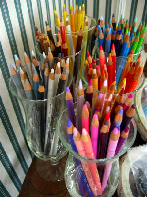 Colored pencils in my sister's workroom.